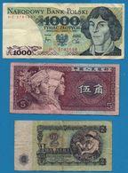 LOT BILLETS 3 BANKNOTES BULGARIA CHINA POLAND - Monedas & Billetes
