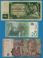 LOT BILLETS 3 BANKNOTES ČESKOSLOVENSKÁ SERBIA ROMANIA - Monedas & Billetes