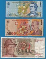 LOT BILLETS 3 BANKNOTES  ROMANIA 1000 + 5000 LEI YUGOSLAVIA 20000 DINARA - Monedas & Billetes