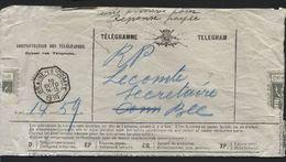 """Télégramme Obl. Télégraphique BRAINE-LE-COMTE 1910 + Man. """"Une Annexe Pour Réponse Payée"""" (x221) - Télégraphes"""
