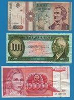 LOT BILLETS 3 BANKNOTES  ROMANIA 1000 LEI  YUGOSLAVIA 100000 DINARA HUNGARY 1000 FORINT - Monedas & Billetes
