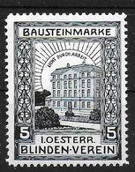 Österreich Baustein Blinden Verein Spendenmarke Cinderella Vignet Werbemarke Propaganda - Fantasy Labels