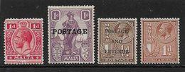 MALTA KING GEORGE V MOUNTED MINT ODDMENTS - Malta