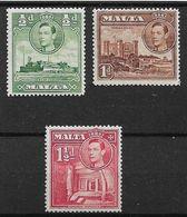 MALTA 1938 ½d, 1d, 1½d, SG 218,219,220 MOUNTED MINT Cat £15.25 - Malta