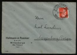 WW II Adolf Hitler Firmen Briefumschlag : Gebraucht Mit Sonderstempel Nähmaschinen Wittenberge - Messenburg 1944, Beda - Deutschland
