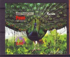 Bosnia: BiH 2020 Fauna Blok Peacock Pavo Cristatus MNH - Bosnie-Herzegovine
