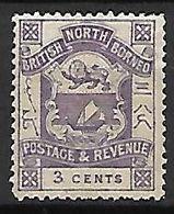 BORNEO   -    1889.  Y&T N°37 *.  Armoiries  /  Lion  /  Voilier.. - North Borneo (...-1963)
