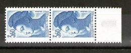 Paire De N° 2485a_Papier Couché_tirage 8/2/89_test En Marge - 1982-90 Libertà Di Gandon