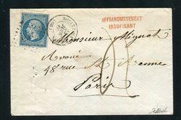 Rare Lettre Taxée De Soultz Haut Rhin ( Haut Rhin 1860 ) Avec Un N° 14A - Cachet PC 2936 - Marcophilie (Lettres)