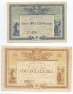 COLLECTION CHAMBRE DE COMMERCE DE LA ROCHE / LYON ET VENDEE 25 CENTIMES 1915  ET 50 CENTIMES 1916 + 1 ET 2 FRANCS 1916 - Chamber Of Commerce