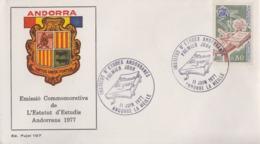 Enveloppe  FDC  1er  Jour  ANDORRE  ANDORRA    Institut  D' Etudes  Andorranes    1977 - FDC
