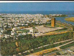Carte Postale. Maroc. Vue Aérienne De L'ensemble Architectural Du Mausolée Mohamed V Et De La Ville De Rabat. Etat Moyen - Monumentos