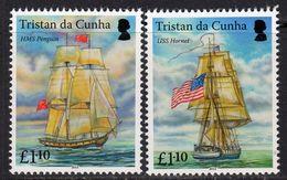 Tristan Da Cunha 2015 Bicentenary Of HMS Penguin Capture Ships Set Of 2, MNH, SG 1129/30 - Tristan Da Cunha