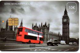 ISN-217 SPAIN PHONECARD ESPAÑA ISERN SERIE MONUMENTOS Nº 10 (BIG BEN WATCH LONDON BUS -TAXI) - CARD FOR  HOSPITAL TV - Basisausgaben