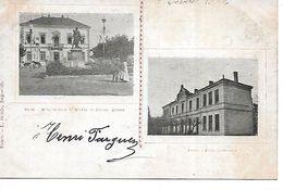 42 - FEURS - Hôtel De Ville Et Ecole Communale (Deux Vues - Précurseur, Années 1902) - Feurs