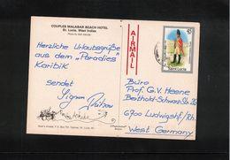 Saint Lucia 1986  Interesting Airmail Postcard - St.Lucia (1979-...)