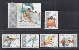 Laos - 1991 Winter Olympic Games - Albertville Set S/sheet + 5 Mnh - Invierno 1992: Albertville