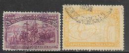 Venezuela  1896  Sc#136 Columbus & #139  25c Maps  Used  2016 Scott Value $6.10 - Venezuela