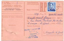 Ontvangkaart Carte Récépissé - Club Company Bruxelles à Knokke - 1955 - Stamped Stationery