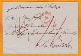 """1842 - Folded Cover To Berlin, Germany Via Antwerp Anvers Belgium - On Ship """"Avance"""" - 1830-1849 (Unabhängiges Belgien)"""