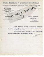59 - Nord - CAMBRAI - Facture DUMONT - études Techniques Et Entreprises Industrielles - 1914 - REF  159C - 1900 – 1949
