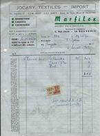 LA BOUVERIE – Facture MARFILEX – Jocary Textiles – Import (1970) Avec Timbre Fisca - 1950 - ...