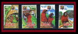 090. TONGA 2002 SET/4 STAMP BIRDS , PARROTS, EUA NATIONAL PARK . MNH - Tonga (1970-...)