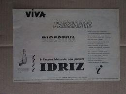 - ADVERTISING PUBBLICITA' IDRIZ L'ACQUA IDRIZZATA CON POLVERI  - 1953 -  OTTIMO - Unclassified