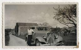 PHOTO ANCIENNE Femme Photographie Automobile Voiture Auto Véhicule 1930 Modèle Ancien Citroën Traction Avant - Automobili