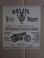 - ADVERTISING PUBBLICITA' DEVIL MOTO MOTOCARRI - FIORANO AL SERIO (BG) - 1953 -  OTTIMO - Unclassified