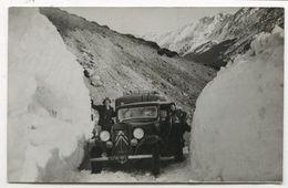 PHOTO ANCIENNE Carte Glace Alpes Montagne Automobile Voiture Auto Véhicule 1930 Montagnes Citroën Traction Avant - Automobili
