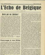 Guerre WW2 Belgique : L'Echo De Belgique, N°27, 5 Septembre 1944 - Documents Historiques
