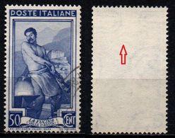 # Filigrana Lettere Alta 10/10 - 50 Cent. Ruota 1° DB Italia Al Lavoro - 1946-.. République