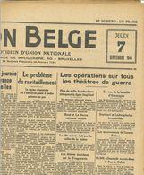 WW2 Belgique : La Nation Belge, Du 7 Septembre 1944 Au 15 Septembre 1944 (8 Numéros) - Documents Historiques