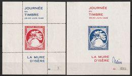 LA MURE D'ISERE - 2 BLOCS * Journée Du Timbre 29.30 Juin 1946 - Commemorative Labels