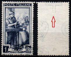 # Filigrana Lettere Alta 10/10 - 1 Lira Ruota 3° DB Italia Al Lavoro - 1946-.. République