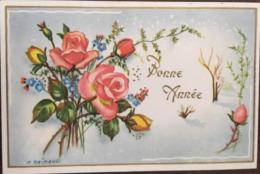 Cp, Bonne Année, Illustrateur Signée, M.Rainaud, Bouquet De Roses,éd Photochrom, écrite - Otros Ilustradores