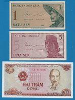 LOT BILLETS 3 BANKNOTES  INDONESIA VIETNAM - Monedas & Billetes