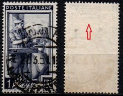 # Filigrana Lettere Alta 10/10 - 1 Lira Ruota 1° DB Italia Al Lavoro - 1946-.. République