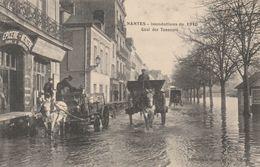 NANTES INONDATIONS DE 1910 QUAI DES TANNEURS EPICERIE MERCERIE ANDRE LEGOFF ATTELAGES RARE - Nantes