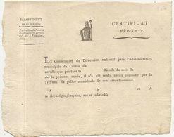 DOC AN 5 .CERTIFICAT NEGATIF . VIERGE - Documents Historiques