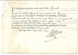 CONDOM . GERS . RECU DU FERMIER DE DIME ... 1753 - Documents Historiques