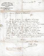 1847 - S.A. Des FORGES DE SIREUIL (16) - L. GUERCY, Directeur à BORDEAUX - Lettre Commerciale - Documents Historiques