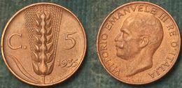 M_p> Regno Vitt Eman III° 5 Centesimi 1935 Spiga ALTA Conservazione - 1900-1946 : Victor Emmanuel III & Umberto II