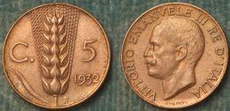 M_p> Regno Vitt Eman III° 5 Centesimi 1932 Spiga ALTA Conservazione - 1900-1946 : Victor Emmanuel III & Umberto II