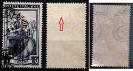 # Filigrana Lettere Alta 9/10 - 1 Lira Ruota 1° DB Italia Al Lavoro - 1946-.. République