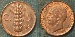 M_p> Regno Vitt Eman III° 5 Centesimi 1921 Spiga ALTA Conservazione - 1900-1946 : Victor Emmanuel III & Umberto II