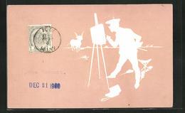 Präge-AK Maler Vor Seiner Staffelei Und Ziegenbock - Cartes Postales
