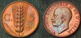 M_p> Regno Vitt Eman III° 5 Centesimi 1925 Spiga ALTA Conservazione - 1900-1946 : Victor Emmanuel III & Umberto II