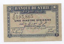 UNE PIASTRE BANQUE DE SYRIE    BEYROUTH  1 ER JANVIER  1920 SPL - Syrien